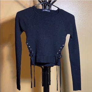Zara knit, crop top, small, black, tie sides